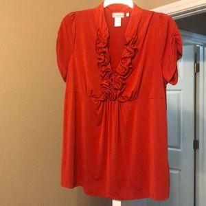 Ruffle front plus size blouse